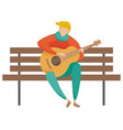 musician playing guitar on wooden bench vector image vector image