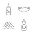 mustard seeds sauce icons set outline style vector image vector image