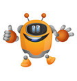 orange cartoon robot with tumb up on white vector image
