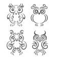 Owl ornament set vector image vector image