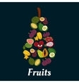 Pear fruit symbol with exotic tropical fruits vector image vector image