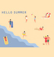 people at sea or ocean beach swimming sunbathing vector image