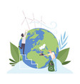 people cleaning earth planet from industrial vector image vector image
