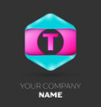 realistic letter t logo in colorful hexagonal vector image vector image