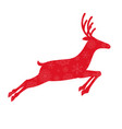 red silhouette of running reindeer with snow vector image