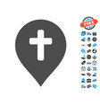 religion cross marker icon with free bonus vector image