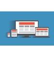 responsive web design concept desktop computer vector image