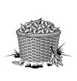 retro basket olives black and white vector image vector image