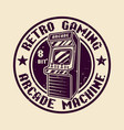 retro game round badge with arcade machine vector image