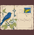 retro postcard with a bird on a flowering tree vector image vector image