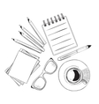 Set of hand drawn objects for business people vector image vector image