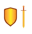 Set of sign shield and sword gold 1605 vector image vector image