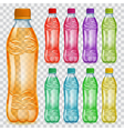 Set of transparent plastic bottles with juice vector image vector image