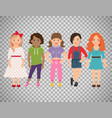 stylish girls set on transparent background vector image vector image