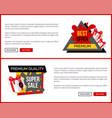 super sale landing pages push buttons read more vector image