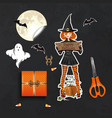 table with gifts for halloween top view vector image vector image