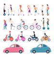 urban transport people riding city vehicle vector image vector image