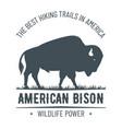 vintage hand drawn bison emblem vector image