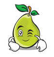 wink face pear character cartoon vector image vector image