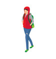 woman in sleeveless jacket green shoes and vector image