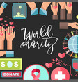 world charity and social help poster vector image vector image