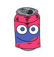 soda can character cartoon hand drawn image vector image