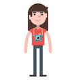 A girl with camera vector image