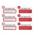 ABC Option Boxes with Version Descriptions vector image vector image