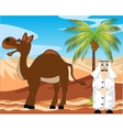 Arab with camel in desert vector image vector image