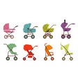 baby stroller set different types of kids vector image vector image