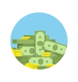 Big heap of rolls money icon vector image