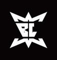 bl logo monogram with crown up down side design vector image vector image