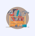 box with tools pliers and hammer screwdriver and vector image vector image