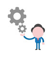 businessman character holding gears vector image vector image