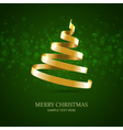 Christmas tree from gold ribbon background vector image