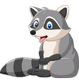 cute raccoon cartoon on white background vector image vector image