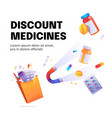 discount medicines cartoon poster with magnet vector image