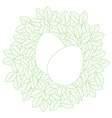 easter card template with eggs in linear leaves vector image