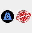 euro mass icon and scratched capital stamp vector image vector image