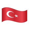 Flag of Turkey waving on white background vector image