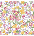 floral white seamless pattern flower bouquet vector image vector image