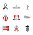 fourth of july day icon set flat style vector image