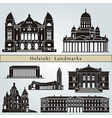 Helsinki landmarks and monuments vector image