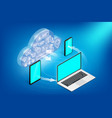 isometric cloud services concept horizontal vector image
