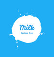 lactose free milk splash blot label vector image vector image