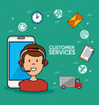 man call center service speaking by phone icons vector image