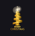 merry christmas gold candle and ribbon gold vector image