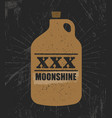 moonshine jug pure original corn spirit creative vector image