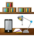 nice office with desk and bookcase vector image vector image