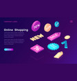 online shopping isometric concept with sale icons vector image vector image